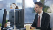 4K Cheerful business group working together in modern city office Stock Footage