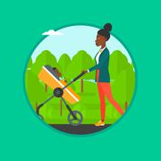Mother walking with her baby in stroller Stock Illustration