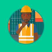 Port worker talking on wireless radio Stock Illustration