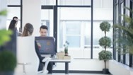 4K Business man & woman having conversation in modern city office Stock Footage