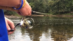 POV of Hands Spinning a Fishing Reel Stock Footage