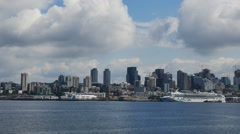 Time lapse-POV-Ferry approaching Seattle waterfont-Cruise ship-Skyli Stock Footage