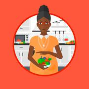 Pregnant woman with vegetables and fruits Stock Illustration