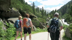 People hiking along the Krimmler Achental valley Stock Footage