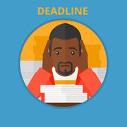 Businessman having problem with deadline Stock Illustration