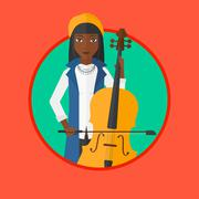 Woman playing cello vector illustration Piirros