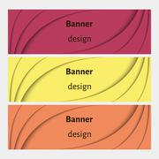 Abstract web banners set with curve elements and shadows. Stock Illustration