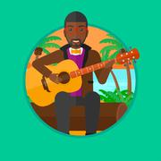 Musician playing acoustic guitar Stock Illustration