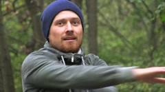 Workout Outdoors. Young Athletic Man With A Red Beard Training Fitness At Woods Stock Footage