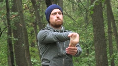 Athletic Man With A Red Beard Training Fitness At Woods  Stock Footage