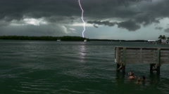 Slow Motion lightning strike next to dock Stock Footage
