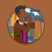 Cameraman with video camera vector illustration Stock Illustration