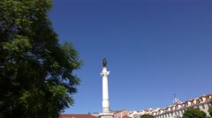 Zoom in to seagull in Rossio Square AKA Pedro IV Square on the Column of Pedro I Stock Footage