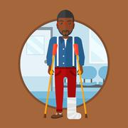 Man with broken leg and crutches Stock Illustration