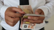 Counting Euro Cash paper banknote Stock Footage
