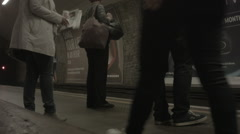 People Waiting for London Underground Train Stock Footage
