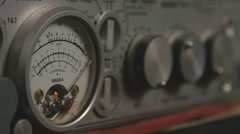 Old tape recorder Nagra db level meter running close up Stock Footage