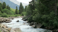 Landscape along the Krimml Achental valley at Krimml waterfalls in Salzburger Stock Footage