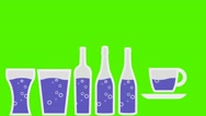 Vector Pouring Drinks -  Animation - Hand-Drawn - Green Screen - Loop - purpl Stock Footage