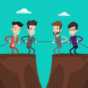 Two groups of business people pulling rope Stock Illustration
