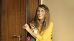 Girl door bye yellow face Stock Footage