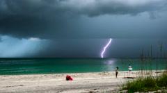 Slow Motion lightning strike on Englewood beach, Florida. Stock Footage