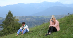 Unhappy Man and Woman Sit Distant Relationship Problem Broken Couple Looking Sad Stock Footage
