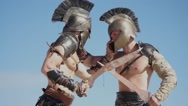 Fight the two soldiers in the Middle Ages Stock Footage