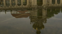 Tilt from pond to entrance of Zwinger Palace Stock Footage