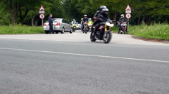 Motorbike cortege for Supetwins race accident victim Stock Footage