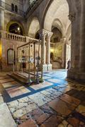 Stone of Unction, Temple of the Holy Sepulcher in Jerusalem Stock Photos