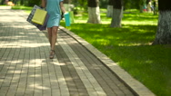 A woman in high heels stumbled. Stock Footage