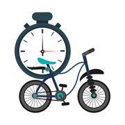 Analog chronometer and bike  icon Stock Illustration