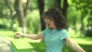Girl in sunglasses jumping around. Stock Footage