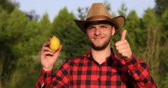 Young Rancher Man Smiling Showing Bio Lemon and Thumb Up Sign in Citrus Garden Stock Footage