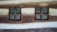 Window detail from a traditional rural wooden house Stock Footage