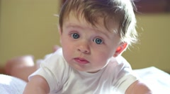 Portrait Of Happy Infant Baby Newborn Child Smiling Slow Motion Arkistovideo