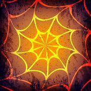 Vector grunge Halloween dark background. Hand drawn spider web Stock Illustration