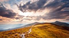Carpatian summer landscape. Slow motion 4K footage Stock Footage