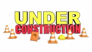 3d rendered animation of under construction text with traffic cones Stock Footage