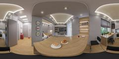 3d rendering spherical 360 degrees, seamless panorama of  living room interio Stock Illustration