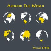 Around the world ( outline of world map and continent ) Stock Illustration