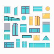 Set of Windows Vector Illustrations In Flat Style Stock Illustration