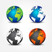 Set of global in different color ( 4 seasons ) Stock Illustration