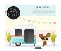 Cute animal collection Dog house Stock Illustration
