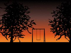 Tree with a swing on night stars sky Vector Stock Illustration
