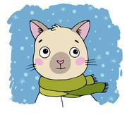 Portrait of a Siamese cat. Winter Stock Illustration