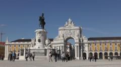Famous arch at the Praca do Comercio, Terreiro do paco, Lisbon, Portugal Stock Footage