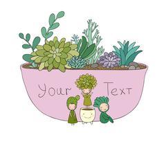 Beautiful succulents in pot. Little fairy Stock Illustration