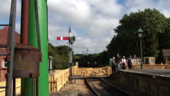 Train arriving at station Isle of Wight Steam Railway Stock Footage